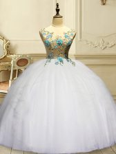 New Arrival Scoop Sleeveless Organza Quince Ball Gowns Appliques and Ruffles Lace Up