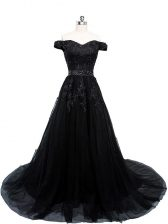 Black Off The Shoulder Lace Up Beading and Lace and Appliques Dress for Prom Brush Train Sleeveless