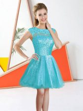 Flirting Organza Sleeveless Knee Length Quinceanera Court Dresses and Beading and Lace