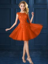 Romantic Knee Length Orange Red Court Dresses for Sweet 16 Bateau Cap Sleeves Lace Up