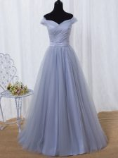 Lavender Lace Up Off The Shoulder Ruching and Belt Evening Dress Tulle Sleeveless