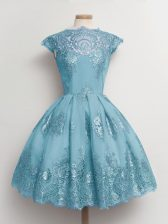 Custom Designed Aqua Blue A-line Tulle Scalloped Cap Sleeves Lace Knee Length Lace Up Quinceanera Dama Dress