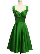 Green Empire Taffeta Straps Sleeveless Ruching Knee Length Lace Up Vestidos de Damas