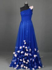 Dazzling One Shoulder Sleeveless Tulle Prom Party Dress Beading and Hand Made Flower Side Zipper