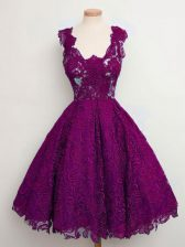 Lovely Purple A-line Lace Quinceanera Court of Honor Dress Lace Up Lace Sleeveless Knee Length
