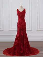 Red V-neck Zipper Lace and Appliques Evening Dress Brush Train Sleeveless