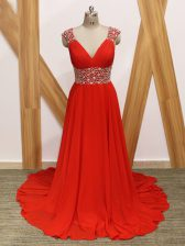 Red Sleeveless Beading Backless Prom Party Dress