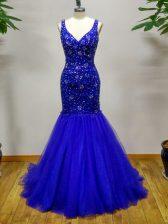 Edgy Royal Blue Straps Criss Cross Beading Prom Evening Gown Brush Train Sleeveless