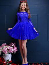 Discount Blue Court Dresses for Sweet 16 Prom and Party with Beading and Lace and Appliques Scalloped 3 4 Length Sleeve Lace Up