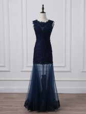 Tulle Scoop Sleeveless Lace Up Lace and Appliques Evening Dress in Navy Blue
