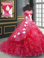 Stunning Coral Red Quinceanera Dresses Military Ball and Sweet 16 and Quinceanera with Embroidery and Ruffled Layers Sweetheart Sleeveless Brush Train Lace Up