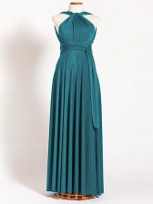 Suitable Teal Sleeveless Ruching Floor Length Dama Dress for Quinceanera