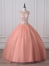 Graceful Beading Quinceanera Gowns Peach Zipper Sleeveless Floor Length