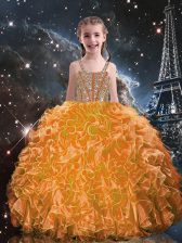 Floor Length Ball Gowns Sleeveless Orange Red Little Girl Pageant Dress Lace Up