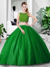 Latest Green Sleeveless Lace and Ruching Floor Length Vestidos de Quinceanera