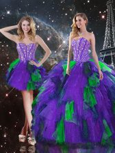 Custom Fit Multi-color Tulle Lace Up Sweetheart Sleeveless Floor Length Quinceanera Dress Beading and Ruffles