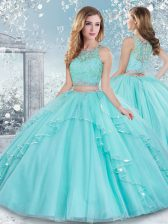 Tulle Scoop Sleeveless Clasp Handle Beading and Lace Quinceanera Gowns in Aqua Blue