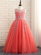 Floor Length A-line Sleeveless Watermelon Red Little Girl Pageant Dress Zipper