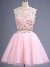 Artistic Baby Pink Two Pieces Beading Dama Dress for Quinceanera Lace Up Tulle Sleeveless Knee Length