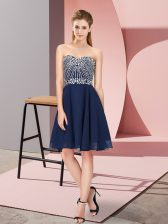 Hot Sale Knee Length Lace Up Evening Dress Navy Blue for Prom and Party and Sweet 16 with Beading