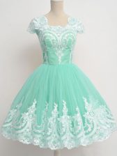 Apple Green Zipper Square Lace Vestidos de Damas Tulle Cap Sleeves