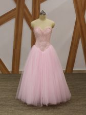 New Style Baby Pink Tulle Lace Up Sweetheart Sleeveless Floor Length Beading