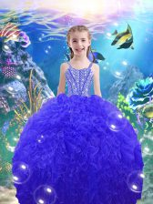 Floor Length Ball Gowns Sleeveless Royal Blue Kids Pageant Dress Lace Up