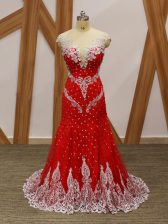 Discount Red Zipper V-neck Beading and Lace and Appliques Evening Dress Tulle Cap Sleeves Brush Train