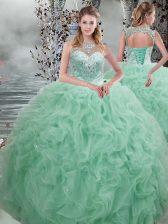 Adorable Apple Green Scoop Lace Up Beading and Ruffles Vestidos de Quinceanera Sleeveless