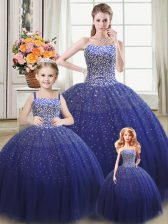 Custom Made Royal Blue Ball Gowns Beading Quince Ball Gowns Lace Up Tulle Sleeveless Floor Length
