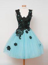 Spectacular Straps Sleeveless Dama Dress Knee Length Lace Aqua Blue Tulle