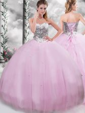Lilac Lace Up Quinceanera Dresses Beading Sleeveless Brush Train