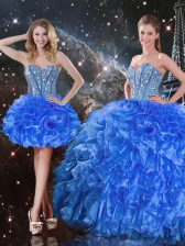 Royal Blue Ball Gowns Sweetheart Sleeveless Organza Floor Length Lace Up Beading and Ruffles Ball Gown Prom Dress