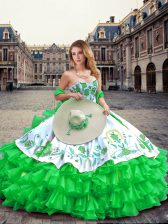 Colorful Floor Length Lace Up Quinceanera Gown Green for Military Ball and Sweet 16 and Quinceanera with Embroidery and Ruffled Layers