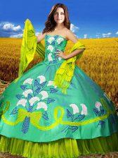 Floor Length Multi-color 15th Birthday Dress Taffeta Sleeveless Embroidery