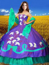 Multi-color Lace Up 15 Quinceanera Dress Embroidery Sleeveless Floor Length