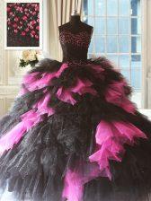Flare Sleeveless Beading and Ruffles Lace Up 15th Birthday Dress