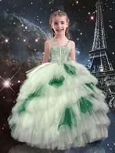 Customized Sleeveless Tulle Floor Length Lace Up Child Pageant Dress in White with Beading and Ruffled Layers