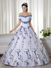 Captivating White Off The Shoulder Lace Up Embroidery Quinceanera Gown Short Sleeves