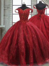 Fantastic Lace Up 15 Quinceanera Dress Wine Red for Military Ball and Sweet 16 and Quinceanera with Beading Brush Train