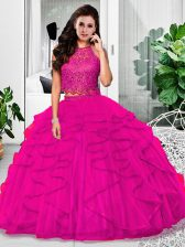 Custom Fit Fuchsia Two Pieces Lace and Ruffles 15 Quinceanera Dress Zipper Tulle Sleeveless Floor Length