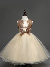 Classical Champagne Tulle Zipper Scoop Sleeveless Tea Length Child Pageant Dress Sequins and Bowknot