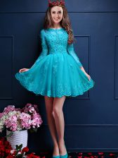 Simple Aqua Blue Lace Up Quinceanera Dama Dress Beading and Lace and Appliques 3 4 Length Sleeve Mini Length