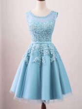 Shining Scoop Sleeveless Quinceanera Court of Honor Dress Knee Length Lace Aqua Blue Tulle