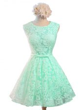 Edgy Apple Green Scoop Neckline Belt Dama Dress for Quinceanera Sleeveless Lace Up