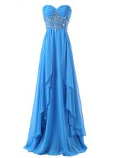 Captivating Baby Blue Lace Up Sweetheart Beading and Ruching Chiffon Sleeveless Brush Train