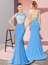 Baby Blue Scoop Backless Beading and Hand Made Flower Prom Gown Brush Train Sleeveless