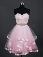 Tulle Sweetheart Sleeveless Zipper Beading and Lace and Ruffles Damas Dress in Baby Pink