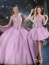 Sleeveless Floor Length Beading Lace Up Sweet 16 Dress with Lilac