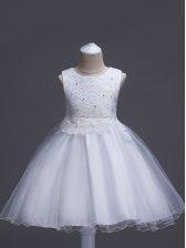White Zipper Scoop Lace Kids Pageant Dress Organza Sleeveless